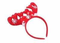 Обруч новогодний с рожками красный