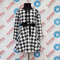Детское стильное платье с начесом в клеточку для девочек оптом MODA
