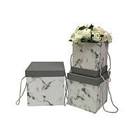 Коробки под цветы, мрамор серые, набор 3 шт