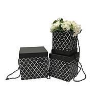 Коробки под цветы, черные с узором, набор 3 шт