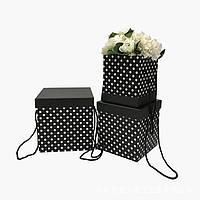 Коробки под цветы, черные в горох, набор 3 шт