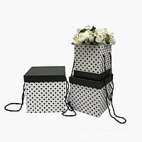 Коробки под цветы, белые в горох, набор 3 шт