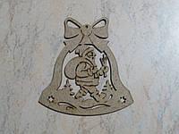 Деревянная новогодняя заготовка Колокольчик под роспись. 8,5 см