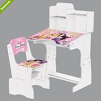 Парта детская регулируемая с полочками Барби: Принцесса и поп-звезда W 2071-38-3 белая