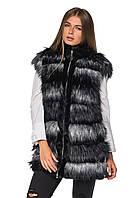 Жилеты женские зимние черные, меховая жилетка женская эко мех чернобурка