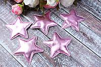 """Апликация """"Звездочка большая экокожа"""", 6,5 х 6,5 см, 25 шт/уп, розового цвета, фото 1"""