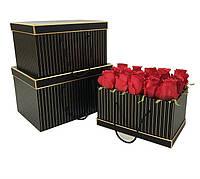 Коробки под цветы, прямоугольные, черные в полоску, набор 3 шт