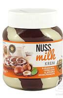 Шоколадная паста Nuss Milk белый и молочный шоколад с ореховым вкусом 400 г.
