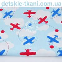 Ткань хлопковая с самолётами на фоне голубого неба с белыми облаками № 1001