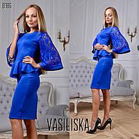 Платье модное с баской и гипюровыми рукавами миди дайвинг 4 цвета SMV1894