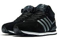 Зимние кроссовки Adidas замша, мужские, черные, на меху, р. 41 42 43 45 46