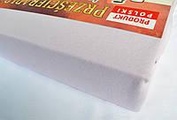 Простынь (наматрасник) на резинке из трикотажа сиреневая