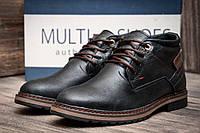 Зимние мужские ботинки Multi Shoes, черные, натуральная кожа, р. 40 42 43 44 45