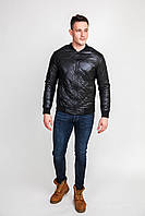 Стильная мужская демисезонная куртка-бомбер черного цвета
