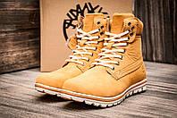 Зимние ботинки Timberland, унисекс, высокие, песочные, на меху, р. 38 39 40 41