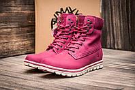 Зимние ботинки Timberland, унисекс, высокие, малиновые, на меху, р. 37 38 39 40 41