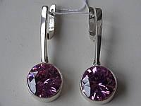 Сережки срібні з рожевим цирконієм, фото 1