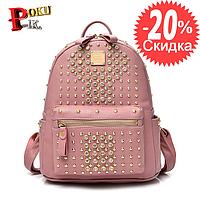 Рюкзак женский кожаный со стразами и заклепками (розовый)