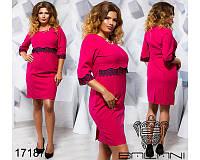Прямое  женское платье костюмка+кружево   размеры: 50,52,54,56
