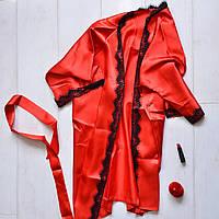 Красный атласный халат с поясом