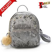 Рюкзак женский бархатный с жемчужинами и помпоном (серый)