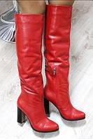 Сапоги женские зимние кожаные на каблуке красные