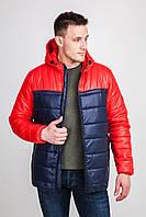Мужская утепленная осенняя куртка с капюшоном: цвет красный/синий