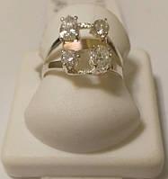 Серебряное кольцо с золотом и белыми цирконами Виток, фото 1