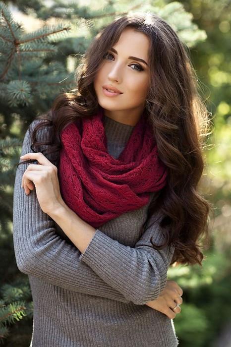 Зимний женский Снуд «Имидж» Бордовый