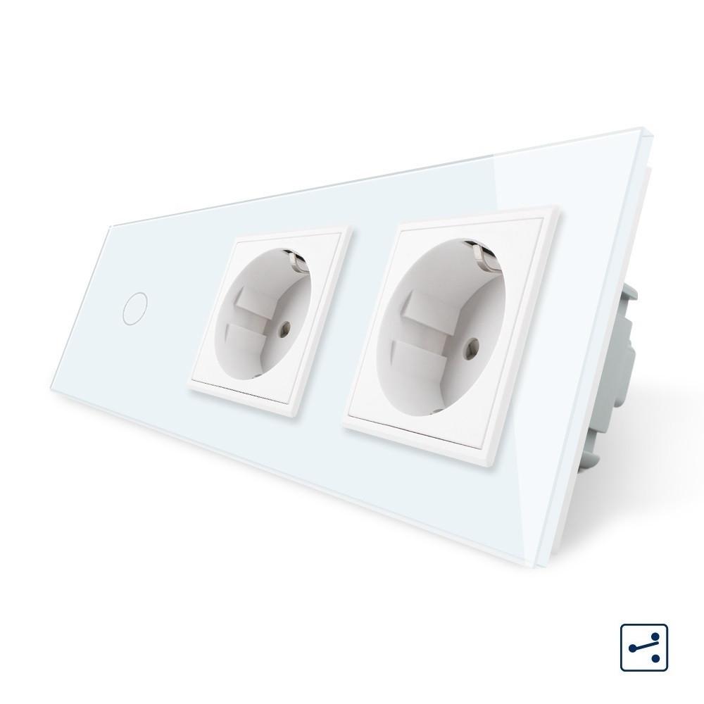 Сенсорный проходной выключатель с двумя розетками Livolo, цвет белый, стекло (VL-C701S/C7C2EU-11)
