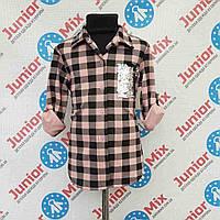 Подростковая стильная рубашка для девочек с начёсом в клеточку оптом
