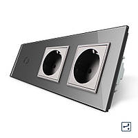 Сенсорный проходной выключатель с двумя розетками Livolo серый стекло (VL-C701S/C7C2EU-15), фото 1
