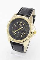 Мужские наручные часы Breitling (золотой корпус, черный ремешок) (Копия)