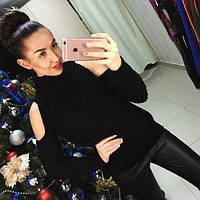 Женский свитер под горло крупной вязки с открытыми плечами черный, фото 1