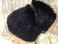 Меховая чёрная шапка из ондатры с ремешком из бусами