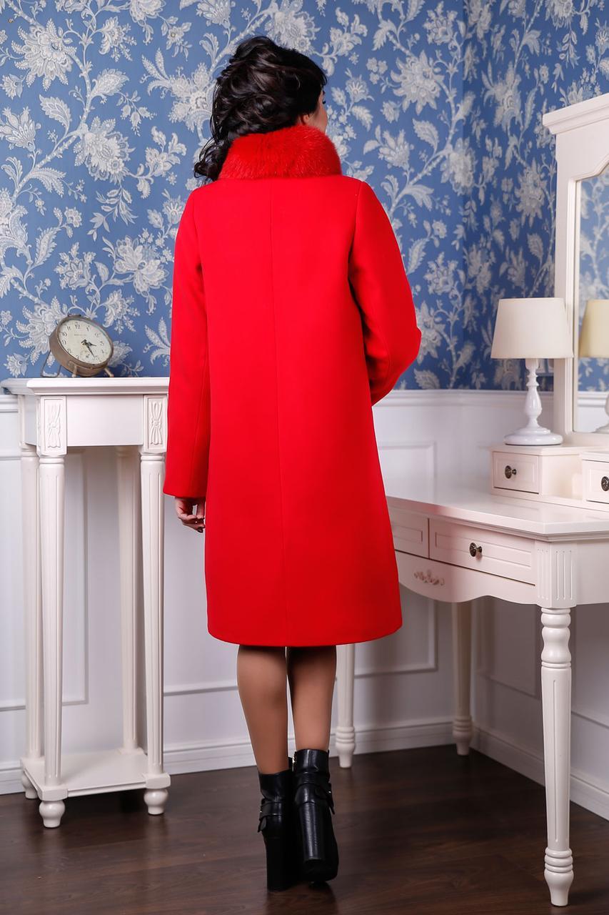 Молодёжное зимнее кашемировое пальто с шикарным мехом красное 44-58 размер 4f4f5deed14c4