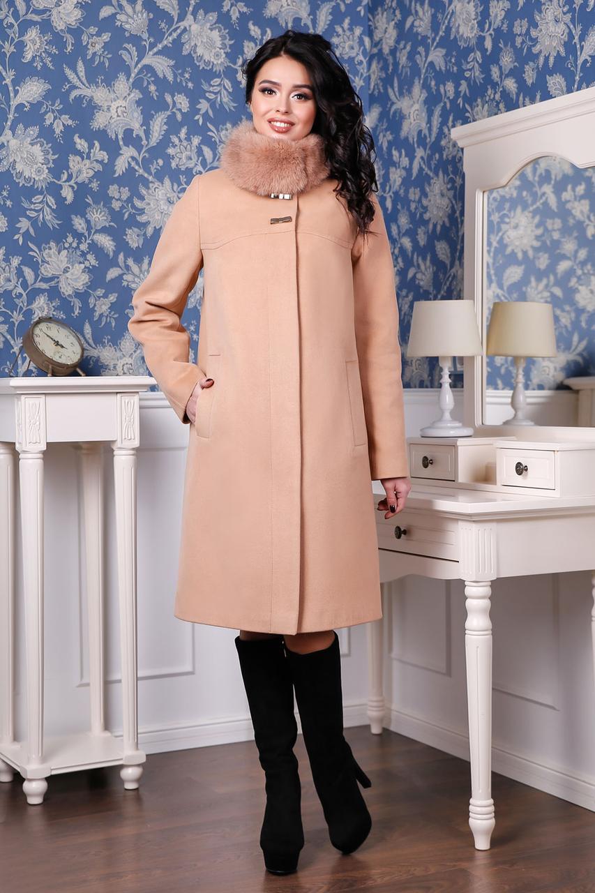 ... Молодёжное зимнее кашемировое пальто с шикарным мехом красное 44-58  размер 52122b34f9fea