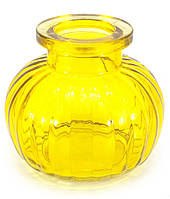 Колба для кальяна стекло желтая (9х9х9 см) (внутренний d-4 см)