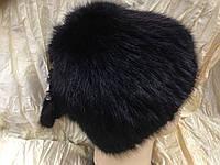 Меховая шапка из ондатры чёрная с пристёгивающимися кисточками