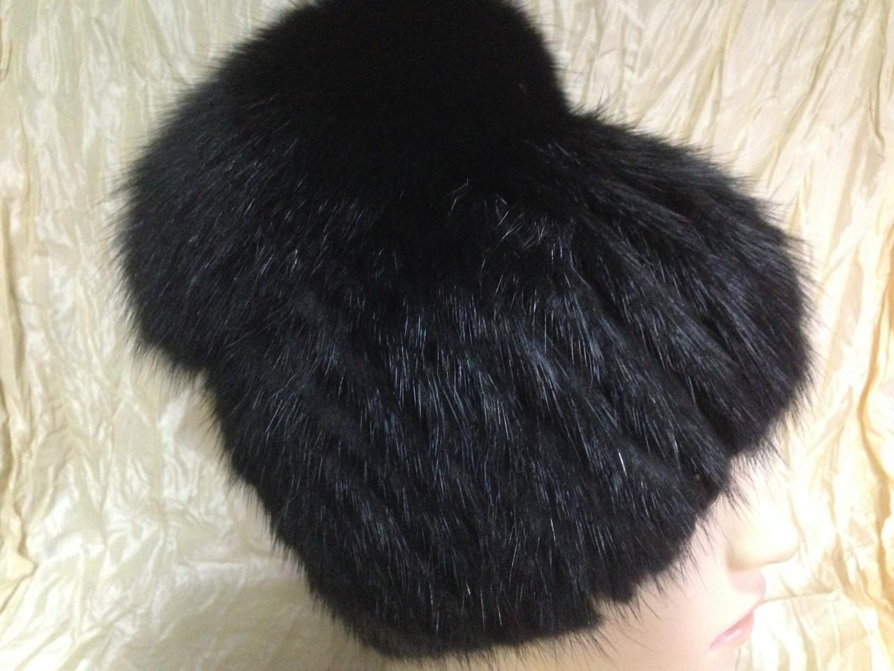 Меховая шапка из ондатры чёрная с бубоном