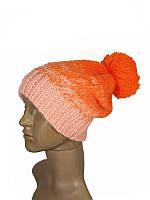 Шапка с помпоном зимняя яркая теплая оранжевая неоновая