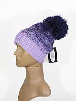 Шапка с помпоном зимняя яркая теплая фиолетовая