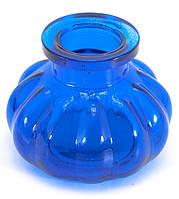 Колба для кальяна стекло синяя (8х10х10 см) (внутренний d-4 см)