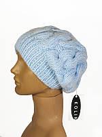 Шапка женская зимняя теплая вязаная с косами нежно-голубая пастель