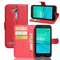 Чехол для ASUS ZenFone Go ZB500KL / ZB500KG книжка кожа PU красный