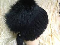 Меховая шапка из ондатры чёрная с донышком