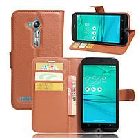 Чехол для ASUS ZenFone Go ZB500KL / ZB500KG / x00bd книжка кожа PU коричневый