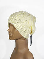 Шапка с косами женская зимняя теплая вязаная молочная