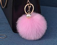 Меховый помпон брелок на сумку, рюкзак, ключи (розовый)