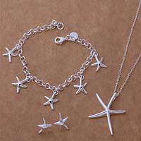 Ювелирный комплект Морская звезда 3 в 1 кулон, серьги, браслет